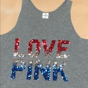 PINK Victoria's Secret Tops - PINK 💝 Sequin Logo Tank Top Muscle Shirt